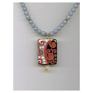 ANGE BLEU- Ceramic Pendant & Angelite Necklace