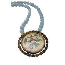 LISERON BLEU - Vintage French Brooch & Aquamarine Necklace