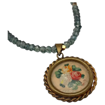 BOUQUET de ROSES - Vintage French Painted Brooch & Green Amethyst Necklace