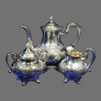 Reed & Barton Regent Hand Chased Silverplate Tea Service Pattern 5600C