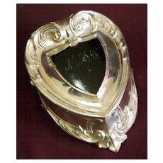 Art Nouveau Silverplate Footed Heart Shaped Jewelry or Trinket Box