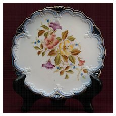 Carlton Ware Decorative Plate 1898 - Floral with Blue and Gold Trim