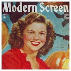 Shirley Temple - Modern Screen Magazine - November 1944 - Includes Judy Garland, Gene Kelly, June Allyson