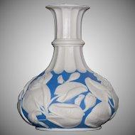 Bennington Ware Blue and White Porcelain Vase - Pond Lily Pattern - Unusual Shape