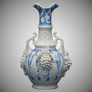 Bennington Ware Blue and White Handled Porcelain Vase with Applied Grapes