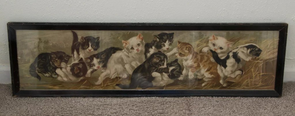 Antique Framed Lithograph Or Print Of Cats Playing A