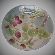 French Majolica Strawberry Plate by Keller and Gerin