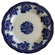 Gorgeous Flow Blue Plate in Waldorf Pattern by New Wharf Pottery
