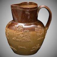 Doulton Lambeth Stoneware Salt Glaze Toby Hunt Jug or Pitcher - ca. 1870 - 6 inches high