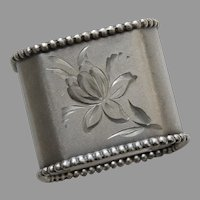 Victorian Silverplate Octagonal Burnished and Bright Cut Napkin Ring with Beaded Edging