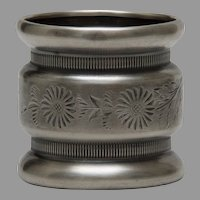 Victorian Silverplate Bright Cut Ribbed and Waisted Napkin Ring