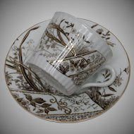 """Gustafsberg """"Peking"""" Demittasse Cup and Saurcer - ca. 1910 - Brown and White Transfer"""