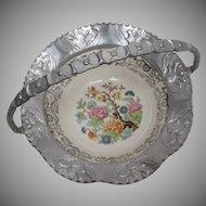 Vintage Farber & Shlevin Hammered Aluminum India Tree Brides Basket or Candy Dish