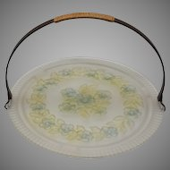 Vintage Frosted Glass Tidbit or Biscuit Tray with Handle