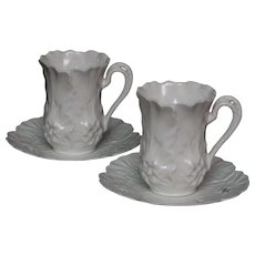 Pair of R S Prussia Demitasse Cups and Saucers