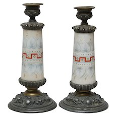 Pair of Porcelain and Metal Candlesticks - ca. 1900