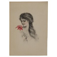 Tinted Post Card - Lady with Flower