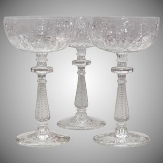 Stunning Set of Three Rock Crystal Champagnes