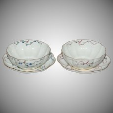 Pair of George Jones Enameled Fluted Bowls with Underplates