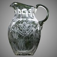 Elaborate Engraved and Hand Blown Pitcher