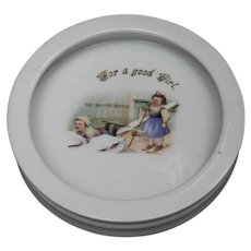 Porcelain Child's Dish or Bowl - Ski-ing