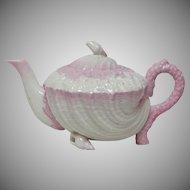 Belleek Neptune Teapot - 2nd Black Mark 1891-1926 - Pink Tint