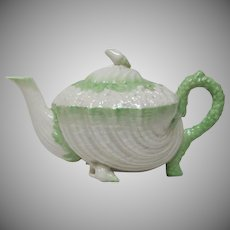 Belleek Neptune Teapot - 2nd Black Mark 1891-1926 - Green Tint