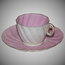 ACA Belleek Pink Demitasse Cup and Saucer