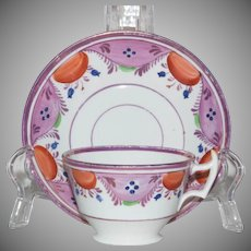 Early 19th Century Pink Luster Tea Cup and Saucer