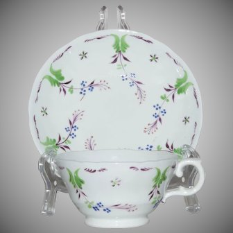 Early 19th Century Enameled Tea Cup and Saucer