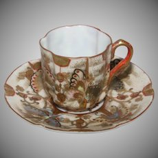 Kutani Porcelain Demitasse Cup and Saucer