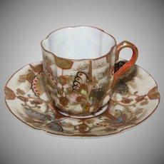 Kutani Porcelain Demitasse Cup and Saucer