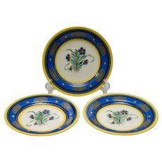 Set of 3 French Quimper B/B Plates