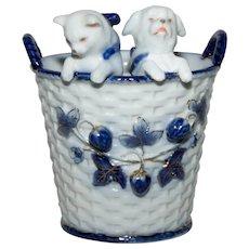 Cat and Dog in Porcelain Basket