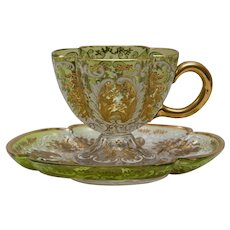 Gorgeous Moser Applied Gilt Cup and Saucer