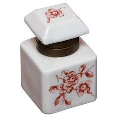 Porcelain and Brass Inkwell