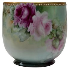 Limoges Planter/Vase Delicate Roses All Around Exquisite Detail