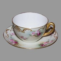 Hand Painted Tea Cup and Saucer - Roses