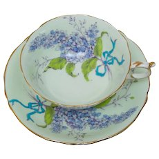 Double Warrant Paragon Tea Cup and Saucer - Purple Lilac on Green