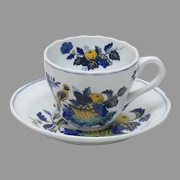 Spode Blue Bird Tea Cup and Saucer