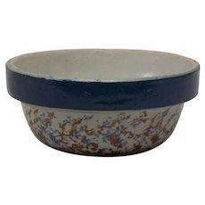 Spongeware Small Bowl with Blue rim