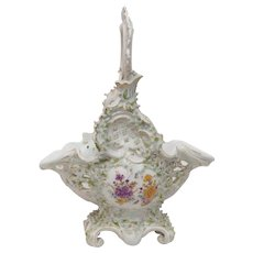Antique Reticulated Basket with Applied Flowers