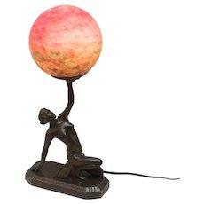 Art Deco Nude Lamp Holding Globe