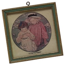 Small Vintage Print of Children - 'Among the Poppies'