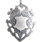 Antique Victorian Solid Sterling Silver Watch Fob Pendant Not Engraved