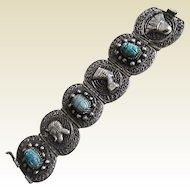 Vintage 1920's Egyptian Revival Wide Silver Plate Filigree Bracelet