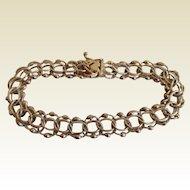 1950's 14k Yellow Gold Double Row Quad Link Charm/Fancy Bracelet