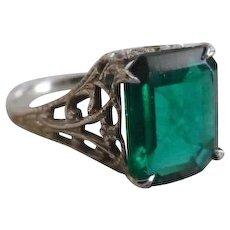 Antique Edwardian 10K White Gold Emerald Paste Ring - Red Tag Sale Item