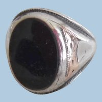 Vintage Man's Sterling 14K Black Onyx Ring