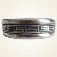Vintage Sterling 950 Silver Enamel Wide Cuff Bracelet